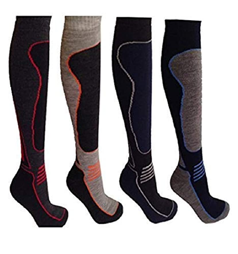 L' ATOME Men's Ski Socks Wool 4 Pairs Men's Thermal Padded 2.0 Tog Size US 7-12