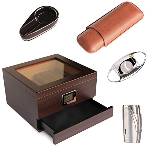 CASE ELEGANCE - Renzo Glass Top Humidor, Lighter, Cutter, and Travel Case Bundle