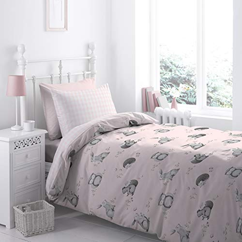 Catherine Lansfield Duvet Cover + Pillowcase, 100% Cotton, Pink, 135x200+80x80, 2