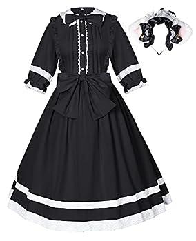 Japanese Adorable Gothic Lolita Retro Cute Princess Fancy Bowknot Dress Lace Headband Set Black S