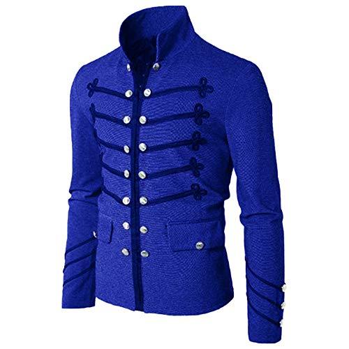 LINSID-Costume Cosplay Cardigan Giacca Uomo Tinta Unita Pulsante Ricamato XXXL