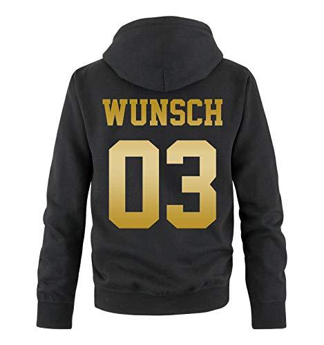 Comedy Shirts - Wunsch - Herren Hoodie - Schwarz/Gold - Gr. M