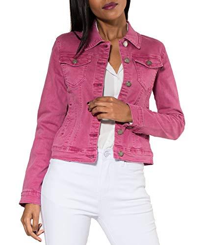 EGOMAXX Damen Jeans Jacke Kurz Übergangsjacke Frühling Denim Weste, Farben:Pink, Größe:44