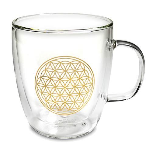 Dubbelwandig theeglas 400 ml van glas met levensbloem in goud - voor dikke en robuuste warme dranken