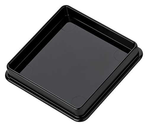 haggiy Mühlenuntersetzer aus Kunststoff - Untersetzer für Gewürzmühlen - schwarz & weiß, 60x60 mm (2 Stk.)