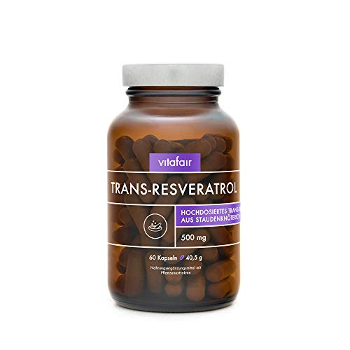 Resveratrol 500mg - Hochdosiertes Trans-Resveratrol aus japanischem Staudenknöterich Wurzel-Extrakt - 60 Kapseln - Vegan - Ohne Magnesiumstearat - German Quality