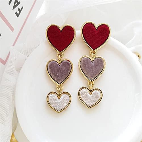 FEARRIN Pendientes Anillos de Moda Diseño Dulce Tres Pendientes de Gota de fantasía de corazón Encantador para Mujer Joyería Redearringsstud