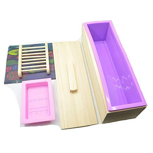 4 Stück DIY Seifen Silikonform Set, RoseFlower 10.24'' Praktische Verstellbar Holz Seifenschneider Handgefertigt Seife DIY Werkzeug rechteckige Silikon Seife Form mit Holzkasten#-4