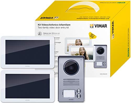 Vimar K40936 Kit videoportero para 2 famillas con: 2 videoporteros pantalla táctil, placa de 2 botones, 2 alimentadores, suministrado con estribos de fijación, blanco