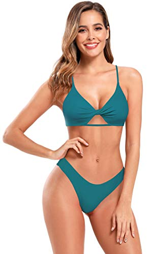 SHEKINI Bañador de Dos Piezas Mujer Halter Cutout Frente Twisted Chic Bikini Top Correa de Hombro Ajustable Triángulo Parte Inferior del Bikini Playa Set (S, Verde Oscuro) ✅