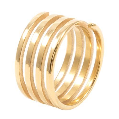 Happiness Boutique Damas Anillo de Espiral Bañado en Oro | Anillo Minimalista Joyería de Acero Inoxidable
