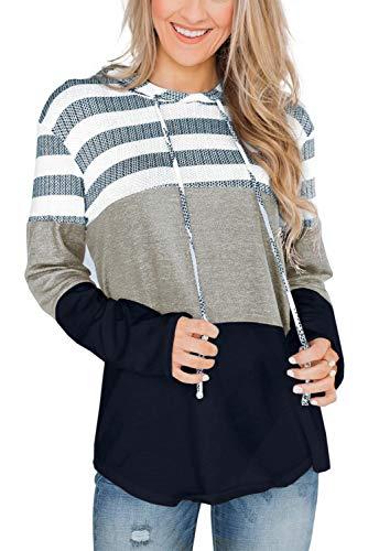 SMENG Damen Color Block Lace Triple Hoodies Streifen Pullover Langarm Tops,Navy,XXL
