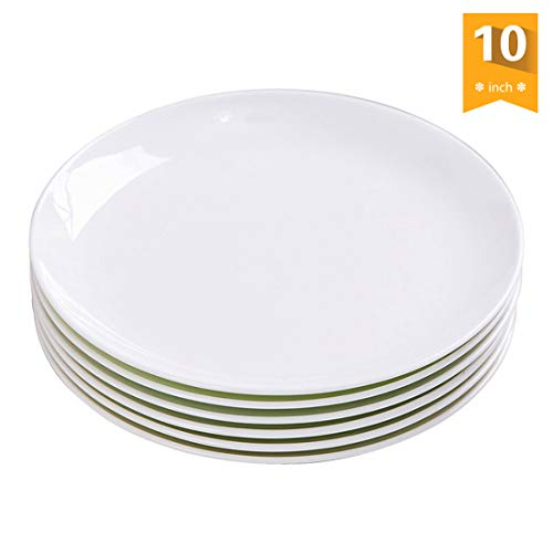 AnBnCn Porcelain Dinner Plates Set/Serving Platters,salad service,10-Inch,White, Set of 6