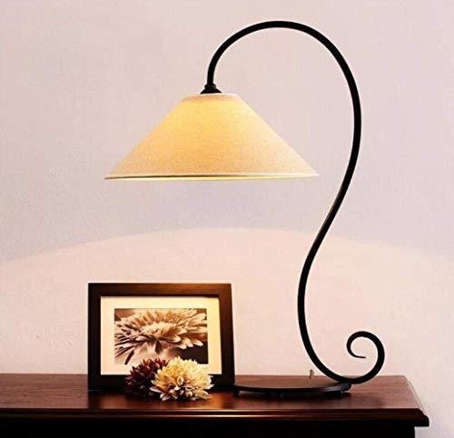 ZLININ Lámpara de mesa, lámpara de escritorio de hierro forjado, estilo retro, lámpara de escritorio, nórdico, simple dormitorio, color de la imagen, un simple romántico