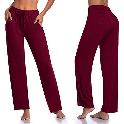 Women's Long Modal Comfy Drawstring Trousers Loose Straight-Leg for Yoga Running Sporting - Burgundy M