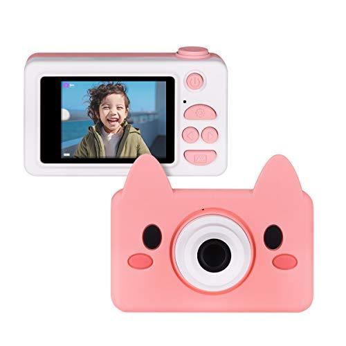 Upgrow Kinder Kamera Niedlich Digital Kamera 2.0 Zoll LCD Display, HD 1080P Kamera für Kinder mit Cartoon Schutzthülle und Aufkleber, Kinder Geschenk (Rosa)