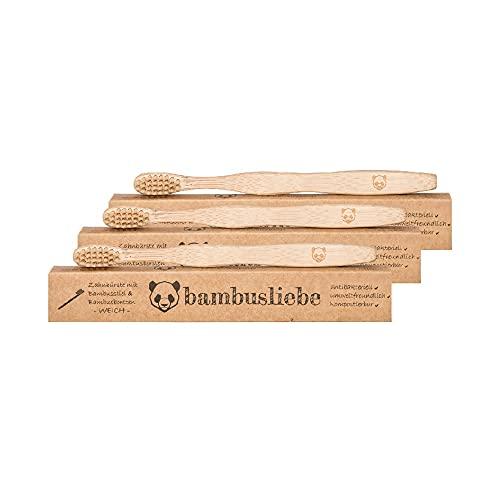 bambusliebe 3x Bambus-Zahnbürste mit harten Borsten - Einzeln verpackt - Nachhaltig, umweltbewusst, antibakteriell, vegan, abbaubar - Für Erwachsene - Zero Waste