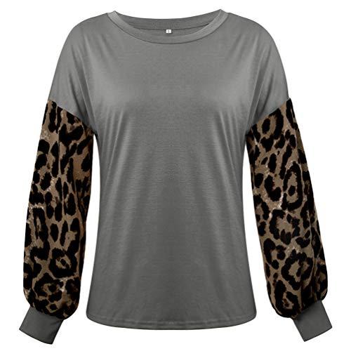 Yujeet Camiseta de Manga Larga con Estampado de Leopardo para Mujer, Top de Estilo Delgado con Cuello Redondo...