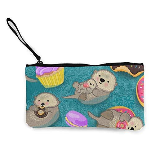 Otter Sweetness Lindo monedero de lona con personalidad de moda con cremallera Bolsa de maquillaje con correa para la muñeca Bolsa de teléfono para llamadas en efectivo 8.5 X 4.5 pulgadas