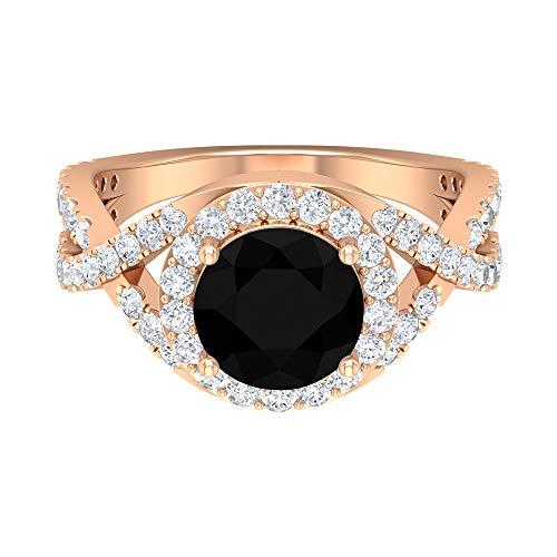 Anillo de compromiso de diamante negro de 3,25 CT creado en laboratorio con acento moissanita, anillo cruzado (8 mm, 14K Oro rosa, Size:EU 66