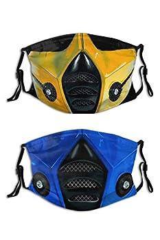 2PCS Mortal Kombat Face Mask Cool Mortal Mask Reusable Washable Balaclavas with 4 Filters