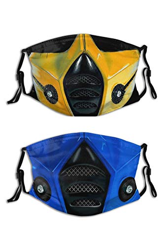 2PCS Anime Mortal Face Mask Cool Mortal Mask Reusable Washable Balaclavas with 4 Filters