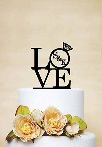 Cheyan naam gepersonaliseerde taart topper liefde met diamanten ring initialen bruiloft gunst taart topper voor bruid en bruidegom