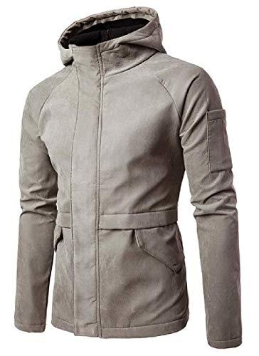ZHIHUI Men's Trench Coat Fleece Lined Suede Casual Slim Windbreaker Jacket Trench Coat