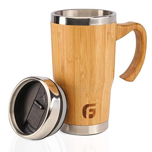 GranFore Kaffeebecher to go | 450ml Bambus Trinkbecher mit Deckel | Außergewöhnliches Design | Jeder Becher ist einzigartig