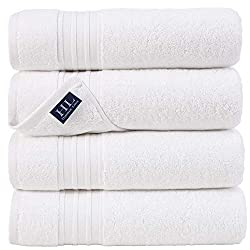 top rated Hammam Bed Linen 100% Cotton 27 × 54 Bath Towel Set of 4 White Very soft and absorbent premium … 2021