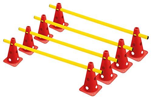 RHINOS sports Steckhürdenset, 8 Multifunktionskegel (22,5 cm) inkl. 4 Trainingsstangen (1 m)