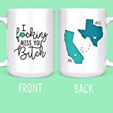 I F*cking Miss You Bitch Long Distance Friendship Gifts State Mugs Moving Away 11 oz. or 15 oz. Coffee & Tea Mug by Max And Mitch Co.