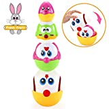 VATOS Nesting Easter Eggs Toy, Plastic Eggs Stacking Toy, Matching & Sorting Learning Toys for 1.5+ Years Old Toddler, Easter Egg Stuffers for Basket, Stacker Toys for 18 Months+ Baby