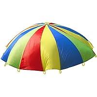 HMILYDYK Childrens Kids Play de Desarrollo Deportivo Rainbow Paraguas paracaídas con Asas para niños Tienda Jugar Juegos de Familia de, Interior y Exterior para Ejercicio (2 m)