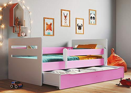Letto bianco per bambini letto junior singolo singolo con materasso e deposito incluso–Tommy., rosa, 160x80