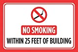 No fumar dentro de 25pies de construcción impresión rojo negro blanco aviso imagen símbolo cigarro electrónico Vape negocio tienda oficina Win