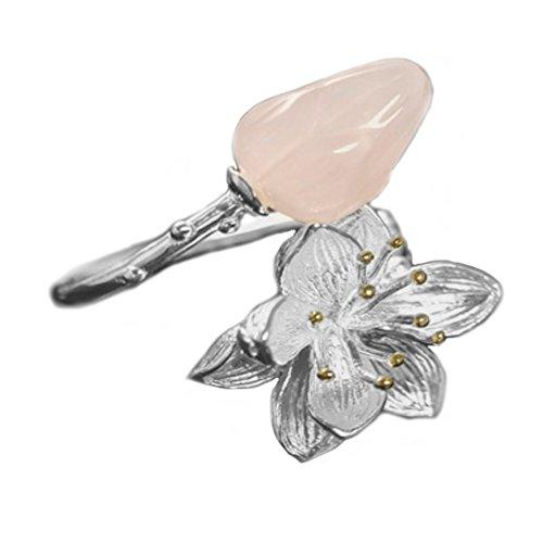 Helen de Lete Jade Flower Bud Lotus Sterling Silver Open Ring (Pink)