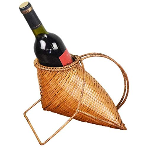 Soporte de Botella de Vino de pie Independiente, Exhibición de Estante de Botella de Vino Individual de Tejido de Bambú para el Hogar Bar Estante de Vino de Pie Independiente Decoración de Mesa