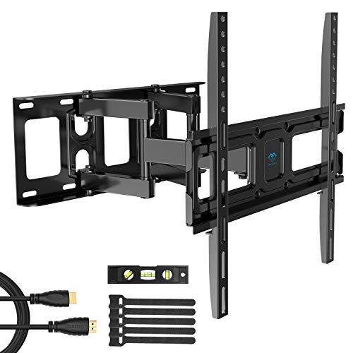 PERLESMITH TV Wall Mount Bracket Full Motion Dual Swivel Articulating Arms Extension Tilt Rotation, Fits Most 26-55 Inch LED, LCD, OLED Flat&Curved TVs, Max VESA 400x400mm and Holds up to 99lbs