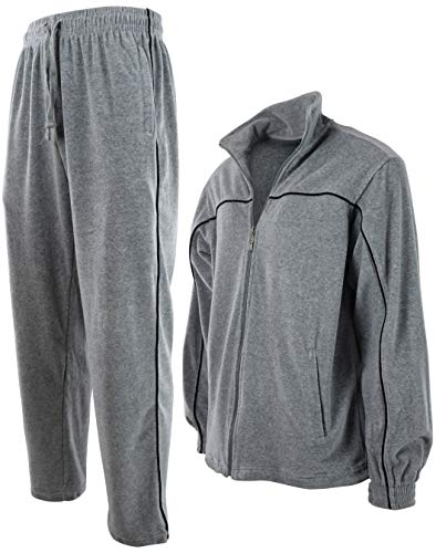 Mens Velour Tracksuit with Zippered Pockets (204-Grey, 2X-Large)