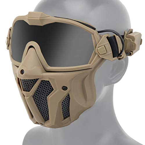 Airsoft Mask and Anti Fog Goggles Kit, Half Lower Steel Mesh Mask and Removable Goggles Fan with Exchangel Clear and Tinted Lens (Tan)