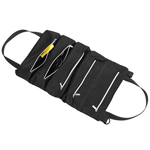Bolsa enrollable para herramientas, bolsa enrollable para herramientas, organizador de herramientas de lona, envoltura de almacenamiento con cremallera plegable multiusos para llaves, tornillos, des