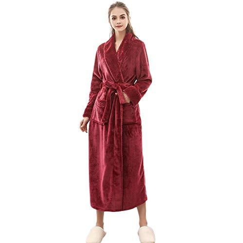 VJGOAL Mujer Invierno cálido cálido Alargado Coral Polar Bata de Felpa Mantón Albornoz de Manga Larga con Cordones Robe Coat Pijamas(x-Large,Vino)