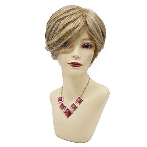 LYRICAL HAIR Shaggy Layered Short Women Bob Wigs Natural Looking Heat Friendly Premium Kanekalon Synthetic Wavy Hair None Lace Glueless Wig for Ladies (F603427A, H16/613# Dark Ash Blonde & Light Bleach Blonde)