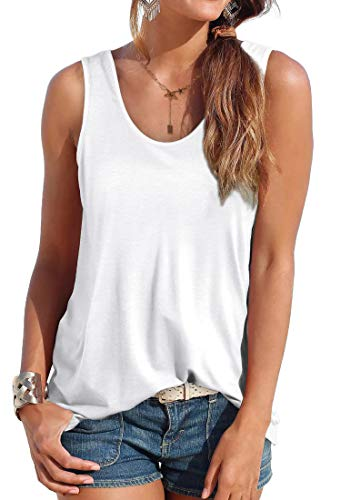 OFEEFAN Womens Tank Tops Sleeveless Scoop Neck Loose Fit Summer Clothes