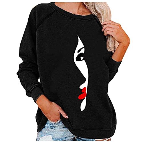 Lalaluka Langarmshirt Damen Sweatshirt Loose Porträt Drucken Rundhals Frauen Pullover Oberteile Langarm Hoodie T Shirt Bluse Tshirt Tunika Top