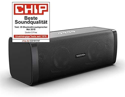 DOCKIN® D FINE Bluetooth Lautsprecher - 50 Watt Stereo HiFi Speaker für Indoor/Outdoor, Wireless, wasserdicht