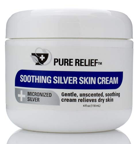 Pure Relief Soothing Silver Skin Cream for Extreme Dry Skin. Micronized Silver Cream with Collagen, Aloe Vera, and Green Tea. 4oz