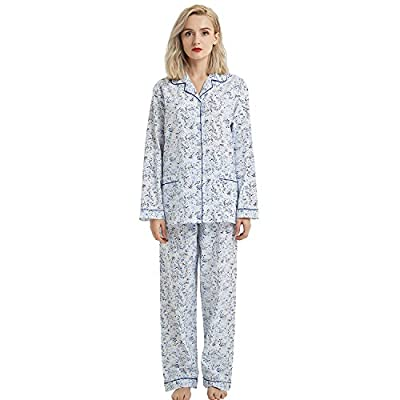 GLOBAL Women's Lounge 2 Piece Pajama Set Top & Pants, 100% Cotton Long Sleeve Soft PJ Set by