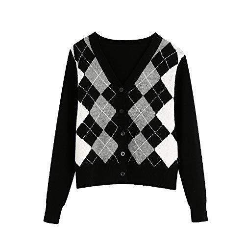 Jersey Suéter Sweater Cárdigan De Mujer Vintage Elegante Patrón Geométrico Suéter De Punto Corto Moda Manga Larga Estilo De Inglaterra Prendas De Vestir Exteriores M 3